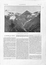 Massif du Simplon Suisse Plan du Tunnel en Coupe Galerie d'Aération GRAVURE 1901