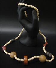 Joya Collar Cadena de Madera Natural Marrón Plata 70cm #106