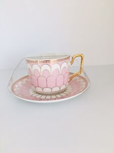 NEW GRACE TEAWARE BONE CHINA Pink white and gold Tea/Coffee Cup & Saucer Set