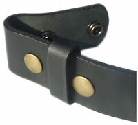 QHA Mens Snap On Belt Top Grain Leather Strap No Buckle