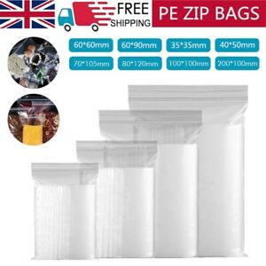 GRIP SEAL BAGS Self Resealable Clear Polythene Poly Plastic Zip Lock *All Sizes