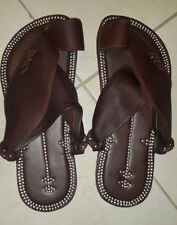 ISIZE 9 Islamic Arabian Leather Najdi Mens Sandals Plain Brown Free Ship