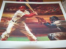 STAN MUSIAL SIGNED AUTO 19X22 LITHO BOB PEAK ARTIST SPORTS ILLUSTRATED PSA/DNA