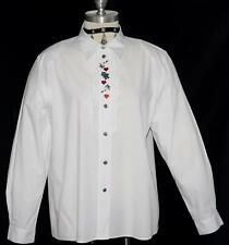 "WHITE Crocheted LACE BLOUSE Shirt EMBROIDERY German COTTON Dress Western/B47""/XL"
