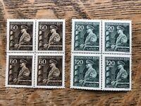 1944 Bohemia And Moravia Stamps, Bocks Of 4 MNH Hitler's Birthday
