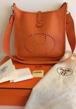 Authentic Hermes Evelyne PM Orange Handbag Leather Crossbody Bag EUC