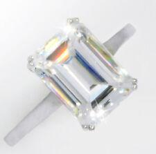 6 ct Emerald Ring Vintage Brilliant Top Russian CZ Moissanite Simulant 14 kt