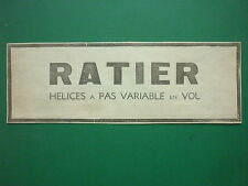 11/1934 PUB HELICE RATIER A PAS VARIABLE EN VOL PROPELLER ORIGINAL FRENCH AD