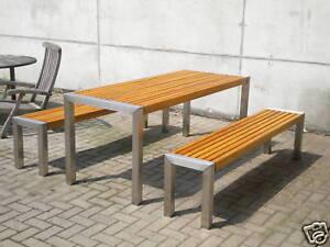 Gartenmöbel Edelstahl Holz Garnitur Tisch 76x200cm mit 2 Bänken 37x200cm