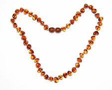 Baltic amber baby necklace, cognac rounded - baroque beads 33 cm /13 inch