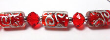 Red Tube Silver Foil Crystal Glass Bead Mix DIY Jewelry Making 15mm  6 pcs