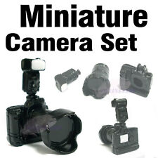Dollhouse Miniature Black Metal Professional Camera Set Toy Game