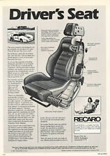 1979 Recaro Seats - Driver - Classic Vintage Advertisement Ad D44