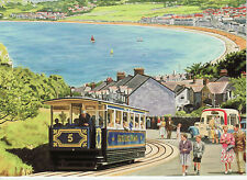 Great Orme Tramway Llandududno Bay Wales view  greeting card tram icecream van