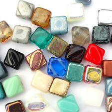 20 Czech Silky Beads 6mm Pressed Glass 2 Hole - Mixed