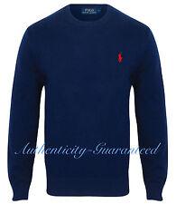 Men's Polo Ralph Lauren Crew Neck Sweater Jumper Retro Navy 100 Cotton 2xl