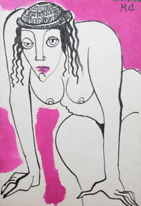 1981 expressionist  ink painting nude woman portrait