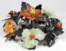 """Magnificent!  """"Hand Carved Chinese Jade & Carnelian Floral Centerpiece""""  (15"""" W)"""