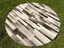 """Cowhide Patchwork Rug Round Gray Stripes Western Grey Area Rugs 48"""" 4ft Large"""
