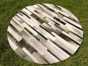 """5ft Large Cowhide Patchwork Rug Round Gray Stripes Western Grey Area Rugs 60"""""""