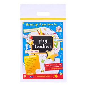 Play Teachers Pretend School Role Play Set register stickers drywipe board & pen