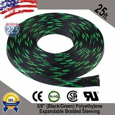 "25 Ft. 5/8"" Black Green Expandable Wire Sleeving Sheathing Braided Loom Tubing"