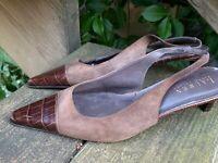SALE @ RALPH LAUREN Polo Kitten High Heels Slingbacks Leather Shoes Sz 7 ❤️ts17j