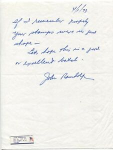 John Randolph Signed Handwritten Letter Autographed Signature Actor