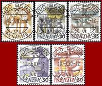 Schweiz 1987 Postbeförderung, Ersttags-Vollstempel, Mi 1340yb-1344yb, SBK 733...