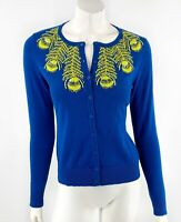 Tabitha Anthropologie Cardigan Sweater Sz S Blue Lime Green Embroidered Peacock