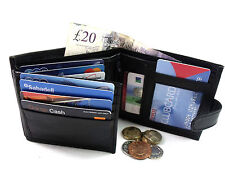 MENS REAL LEATHER BLACK TRIFOLD WALLET CREDIT CARD HOLDER COIN POUCH PURSE