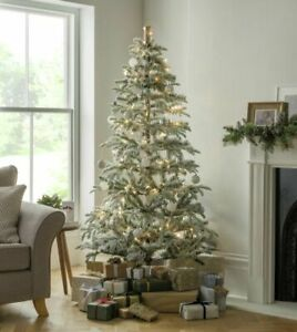 Home Pre-Lit Natural Snowy Christmas Tree - 6ft - Green