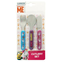 Despicable Me Fluffy Unicorn 3 Piece Childrens Cutlery Set  Knife Fork Spoon