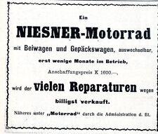 Niesner-Motorrad & Gepäckwagen  billigst zu verkaufen...Historische Annonce 1909