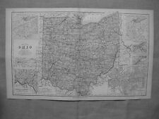 1877 OHIO RAILROAD MAP Akron Boardman East Liverpool Bellaire Ancient tribes BIG
