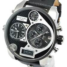 New DIESEL DZ7125 Mens Watch Mr.Daddy Black Three Tome Zone Leather DZ7125