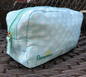 New Pampers Zipper Travel Pouch Teal Holds Diapers Wipes Zip Up Small Bag Hearts