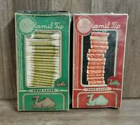 1930s 40s 2 PACK Vintage Store Displays A Kamil Tip Shoe Laces 48 pairs NEW