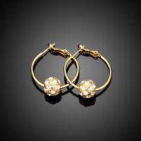 Women's 18Kt white Gold Plated Austrian Crystal  Inside  Hoop
