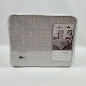Lacoste Bukit 3-Piece White Grey Reversible Full/Queen Duvet Cover Set MSRP $175