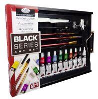 21 Pezzi Acquerello Arte Set Nero Serie Pittura Spazzole Palette Legno Box 4105`