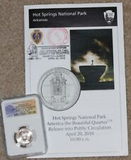 2010 D HOT SPRINGS QUARTER NGC MS67 RELEASE CEREMONY & PROGRAM STAMPED CANCELLED