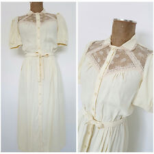 Vintage 80s Foxy Lady Peasant Wedding Dress Size Small Ivory Lace BOHO Hippie