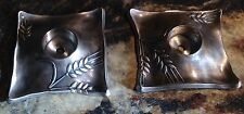 2 Danon Silverplate Candle Holders Wheat Design Made In Israel