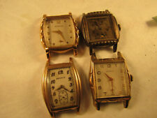 4 art deco cased Benrus watches for restoration dn21,an18,74091 good balances