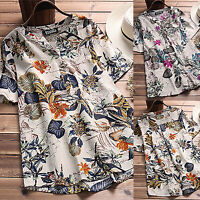 Boho Womens Floral Short Sleeve Blouse Ladies V-Neck Casual Tops Shirt Plus Size