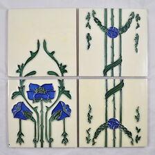 4 Jugendstil Kacheln / Fliesen / Wandfliesen / art nouveau / tile / carreau