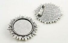 2 XSilver toned cabochon brooch pendant setting size fits 25mm glass