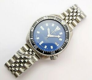 95' SEIKO 7002 7000 SS MENS DATE AUTO 571363 BLUE BLACK EU SHIP SERVICED WATCH