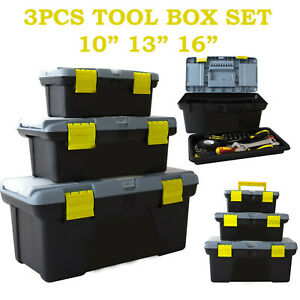 3 PIECE PLASTIC TOOL BOX CHEST SET HANDLE TRAY COMPARTMENT DIY STORAGE TOOLBOX